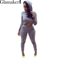 Glamaker Hooded chic open zipper elegant jumpsuit romper Autumn winter fitness women two piece outfits Gray long pants playsuit