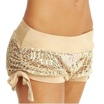 Hot Pants Summer Women's Casual High Waist Shorts Pants Sexy Lace Beach Shorts
