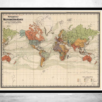Old World Map Atlas Vintage World Map 1864 Colonial Chart Mercator projection