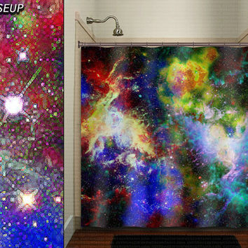 Mosaic Nebula Rainbow Outer Space Galaxy shower curtain bathroom decor fabric kids bath window curtains panels bathmat valance