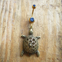Turtle Belly Button Ring, Belly Button Jewelry, Turtle Lover Jewelry, Gold Body Jewelry, Navel Rings, Sea Turtle Charm.