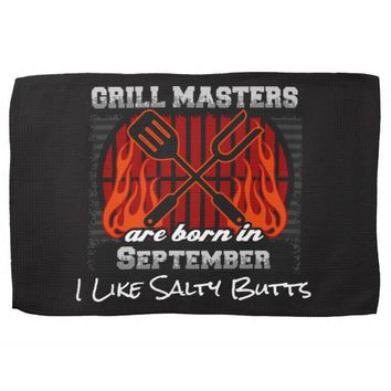 Grill Masters Are Born In September Add A Slogan Hand Towel