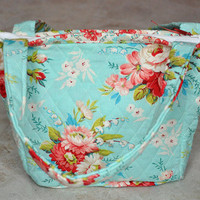 small quilted tote bag, purse -- light blue, coral, and white floral with zipper