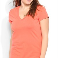 Plus Size Short Sleeve V-Neck Basic Tee
