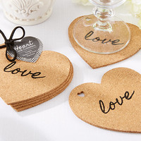 """Heart"" Cork Coaster Wedding Favors (Set of 4)"