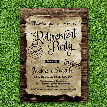 Retirement Invitations , Retirement party,Retirement Celebration retro vintage Invite, retro vintage wood old paper design- card 727