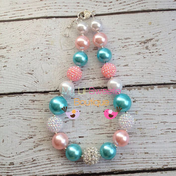 Light pink, aqua, white chunky necklace, girls jewelry, children's necklace, bubblegum jewelry, bubblegum necklace