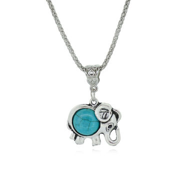 Trendy Sweet Elephant Necklace Silver Metal Turquoise