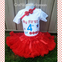 My First 4th of July Onesuit Set - Tutu - Personalized - Star - First Fourth of July - My 1st Fourth - Shirt - Baby Girl - Pettiskirt - Red