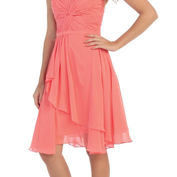 Strapless Destination Wedding Chiffon Bridesmaid Dress Coral Short