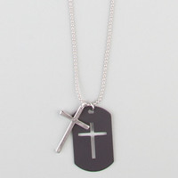 Blue Crown Cross Dogtag Necklace Black One Size For Men 21632110001