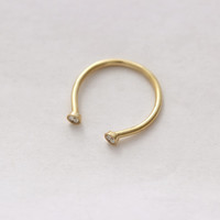 Dual Stone Ring - Diamond Wedding Ring - Horseshoe Ring - 18k Gold