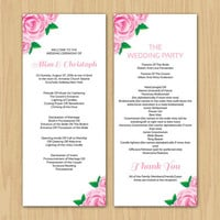Wedding Program Template | Printable Wedding Program | Tea Length Program | Ceremony Program | ms word template | Instant download | wp-060