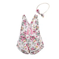 Newborn Baby Girls Clothes Set  Floral Outfits Lace Tassel Jumpsuit Romper Headband