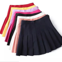 FREE SHIPPING  Autumn high waist with thin side zipper tennis skirt pleated skirt with inner lining