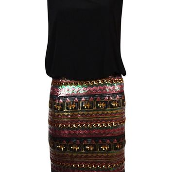 Betsy & Adam Women's Multi Sequined Blouson Dress