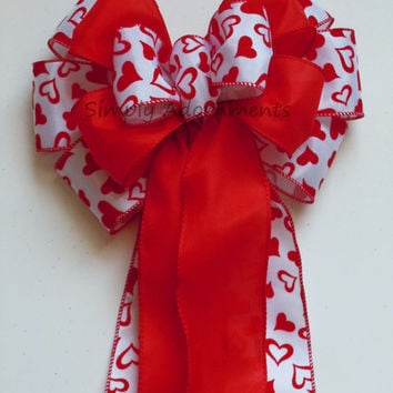 Red Heart  Valentine Wreath Bow Red White Hearts Wedding decoration Bow Showers Bow Party Birthday Gift Church Pew Bow