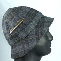 Mens Bucket Hat in Grey-Black-Brown Plaid | Six Panels in Fine English Wool | Zipped Pocket is Campaign Fave