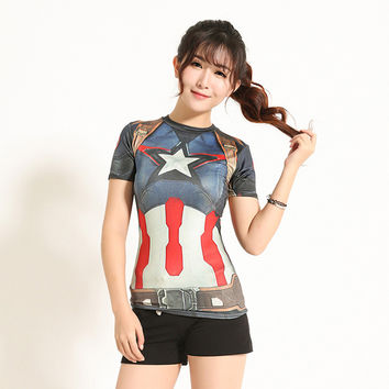 High Quality Women T-shirt Bodys Armour Marvel Captain America/superman/spiderman Compression T Shirt Girl Under Fitness Tights