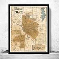 Old map of Dallas 1922 Texas
