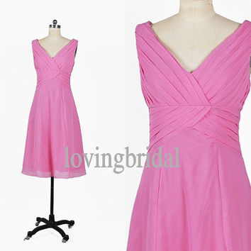 Tea Length Hot Pink Chiffon Prom Dress Bridesmaid Dress Party Dress Simple Homecoming Dress Formal Prom Dress Custom wedding dress
