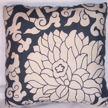 """Navy Lotus Floral Throw Pillow Thomas Paul Blossom Indigo 17"""" Square Ready to Ship Insert Included Bold Graphic Oriental Flowers Last One"""