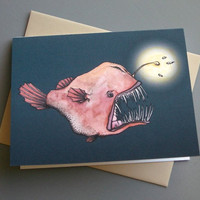 Anglerfish Notecard and Envelope by LittleAlexander on Etsy