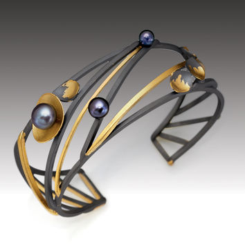 Monarch Cuff by Judith Neugebauer (Gold, Silver & Pearl Bracelet) | Artful Home