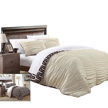 Emelia Elissa Pleated Reversible 3 Piece Duvet Cover Set King & Queen Beige