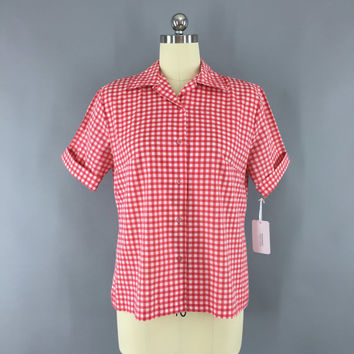 Vintage 1960s Gingham Shirt / 60s Rockabilly Shirt / Red Gingham Blouse / Checkered Western Style / Merriweather / Size Medium M Large L