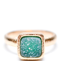 Geo Drusy Ring in Aquatic