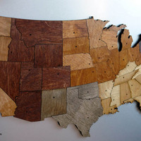 USA Magnetic Map Puzzle Stained Plywood by PipeDreams2010 on Etsy