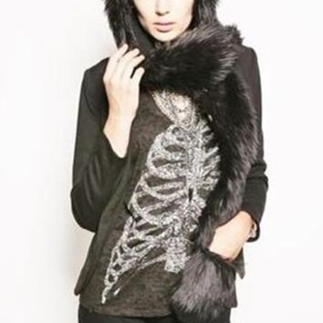 Faux Fur Hood Animal Hat for Women Men Winter Wolf Plush Warm Cap with Long Scarf Mittens Gloves