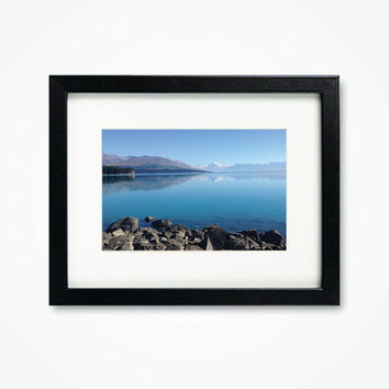 Photography Print Framed New Zealand Photograph Lake Pukaki Scenery View Photo