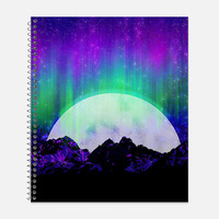 Under the Northern Lights Notebook, Waterproof Cover, Journal, Aurora Borealis Notebook, Moonlight Journal, School Supplies, College Ruled