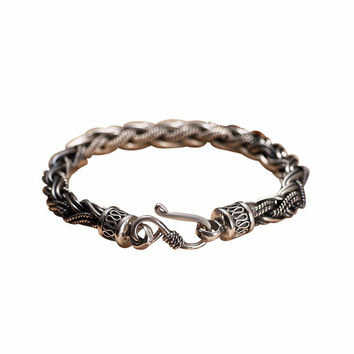 Double Braided Silver Chain Luxury Bracelet
