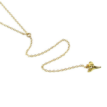Gold Shark Tooth Necklace, Long Y Necklace, Lariat Necklace, Minimal Y Necklace-- Gold Filled Gold Vermeil
