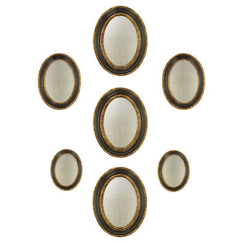 Oval Convex Accent Mirrors, Gold, Set of 7, Wall Mirrors
