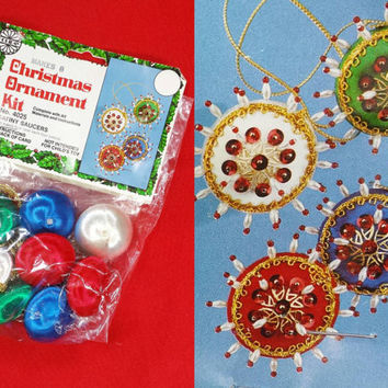 Vintage Christmas Ornament Kit Beaded Sequin Satin Ball Saturn Saucer Decorated Ornaments DIY Homemade Christmas Tree Decor Craft Kits