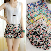 Girl 's High Elastic Waist Blooming Flowers Floral Print Mini Short Pants Shorts D_L = 1712394052