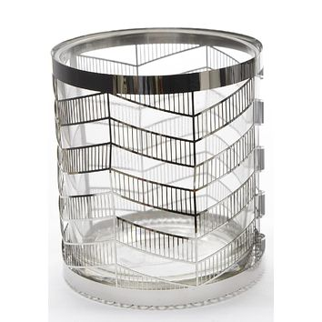 """4"""" City Chic Glass Votive Candle Holder with Stainless Steel Cover"""