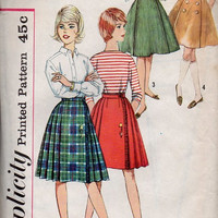 Simplicity 60s Sewing Pattern Teen School Girl Full Circle Skirt Pleated Flared Paneled Midi Skirt Kilt Bandstand Swing Skirt Waist 24
