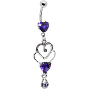 Elegant Tanzanite Cubic Zirconia Heart Belly Ring
