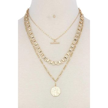 Metal layered short necklace