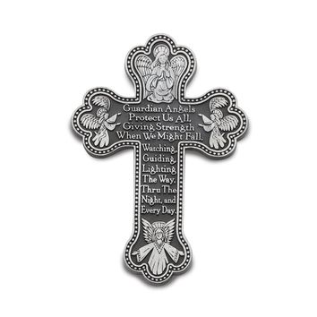 Silver-tone Guardian Angels Cross Wall Plaque