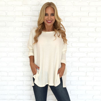 Cuddled in Cream Knit Sweater Top