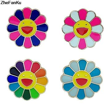 1Pcs Cute Sunflower Enamel Brooch Pins 4 Color Badge For Women Men Lapel Pins Wedding Christmas Brooch Jewelry Accessories