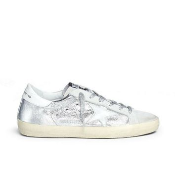 GOLDEN GOOSE SUPERSTAR WRINKLE EFFECT LAMINATED SMUDGED SNEAKERS