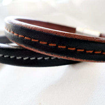 Mens Leather Bracelet, half round leather, silver plated zamak