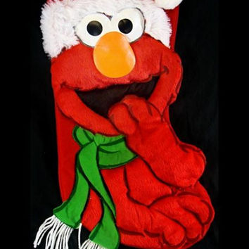 Elmo Christmas Stocking - Comes Ready-to-hang On A Red Fabric Loop